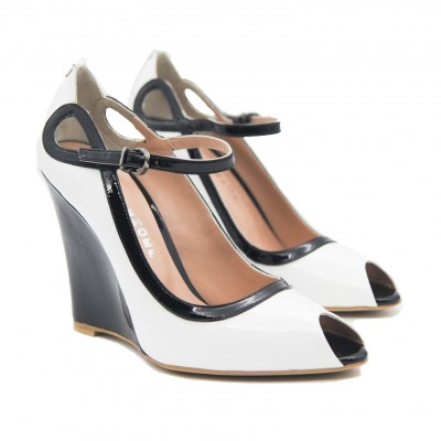 Goody2Shoes Ladies Peep Toe Black and White Patent Wedges with Ankle Buckle