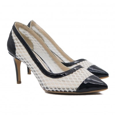 Goody2Shoes Ladies White Mesh with Navy Patent Trim Mid Heel Court Shoes