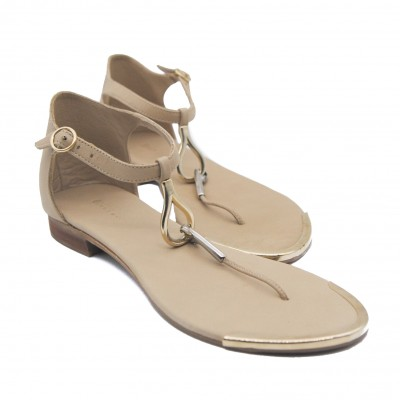 Goody2Shoes Pale Beige Thong Style Sandals with Ankle Strap for Ladies