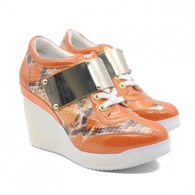 Goody2Shoes Patent Orange and Faux Snakeskin Lace Up Wedge Trainer with Metal Strap
