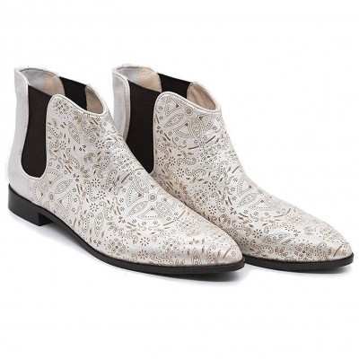 Ladies Chelsea Leather Boots Patterned Style Paisley Gold in Colour Stylish Everyday Footwear with Elasticated Sides