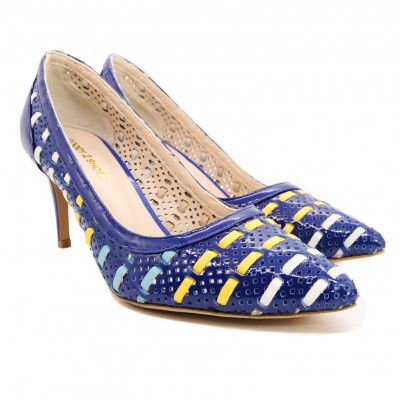 Ladies Mesh Stripe Court Shoes with Pointed Toe and Lateral Pattern