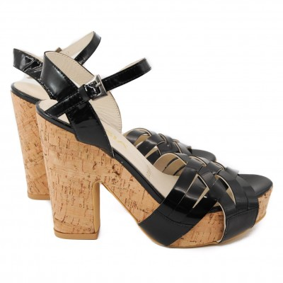 Ladies Pegia Leather Black Platform Strapped Shoes with Cork Wedge High Heels