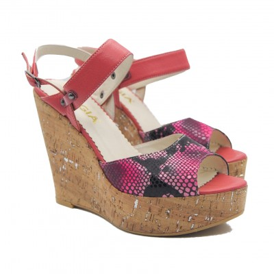 Pegia Faux Snakeskin Black and Bright Pink Cork Platform Wedges with Ankle Strap