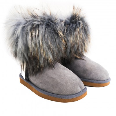 Pegia Suede and Fur Topped Wool Marked Sheepskin Lined Ankle Boots - Grey
