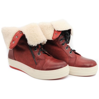 Pegia Woolmarked Sheepskin and Wool Lining Burgundy Casual Lace Up Leather Boots