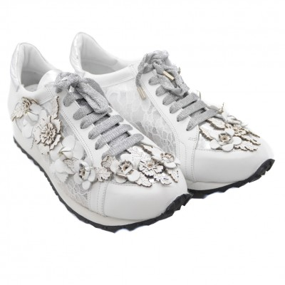 Uniquely Designed Flower Leather Trainer Pumps with Contrasting Lace and White Sole - White